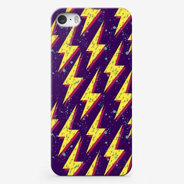 Чехол iPhone «Яркий абстрактный узор  с молниями в стиле 80-х»
