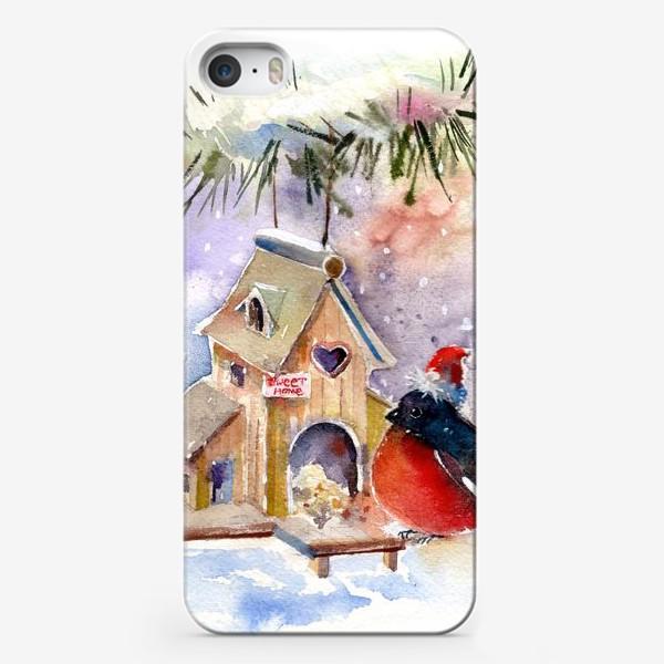 Чехол iPhone «Новогодний Снегирь»