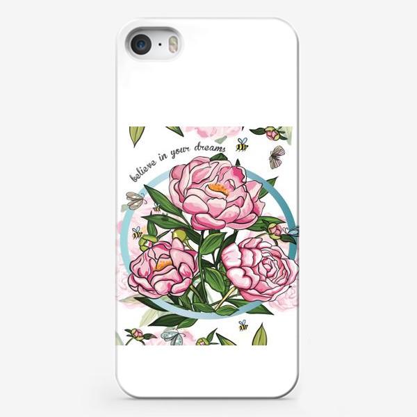 Чехол iPhone «Пионы и пчелы»