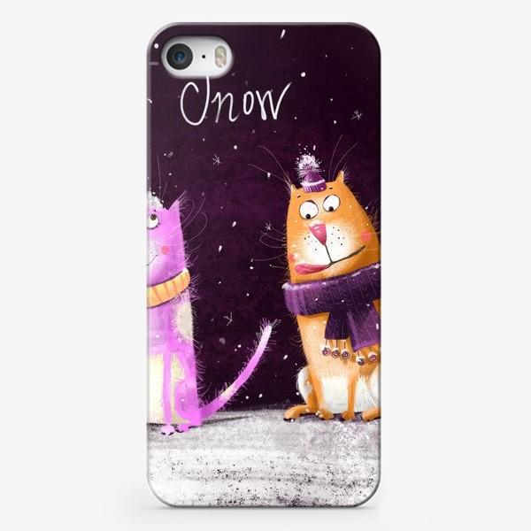 Чехол iPhone «Котики и первый снег»