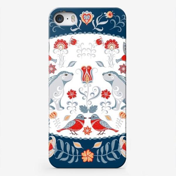 Чехол iPhone «Орнамент с зайчиками, колибри, цветами в декоративной рамке.»