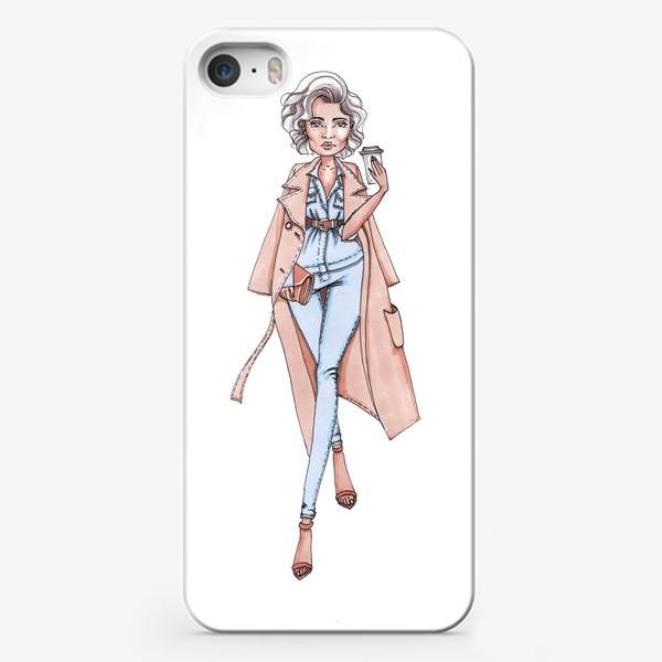 Чехол iPhone «Стильная городская Леди с кофе»