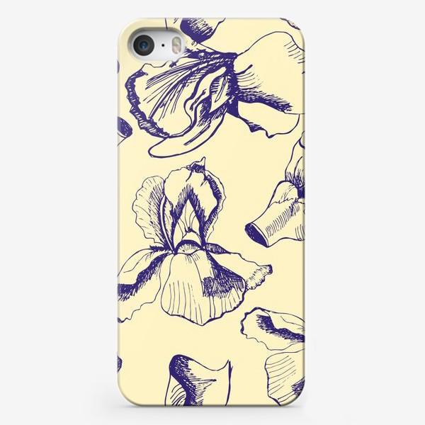 Чехол iPhone «Текстура из синих  цветов ириса на желтом фоне»