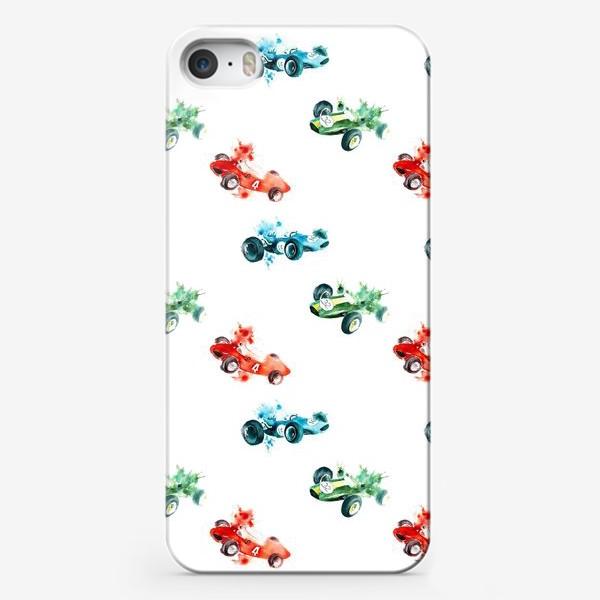 Чехол iPhone «Гоночные болиды / Формула-1 (машинки, паттерн, детское, ретро, винтаж)»