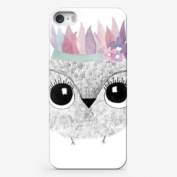 Чехол iPhone «Малыш совенок в венке»