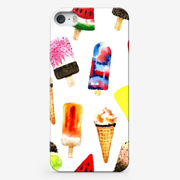 Чехол iPhone «Watercolor different  ice cream on white background. Summer dessert. Seamless pattern.»