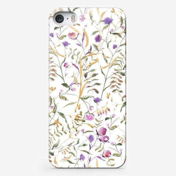 Чехол iPhone «Луговые травы на белом фоне»