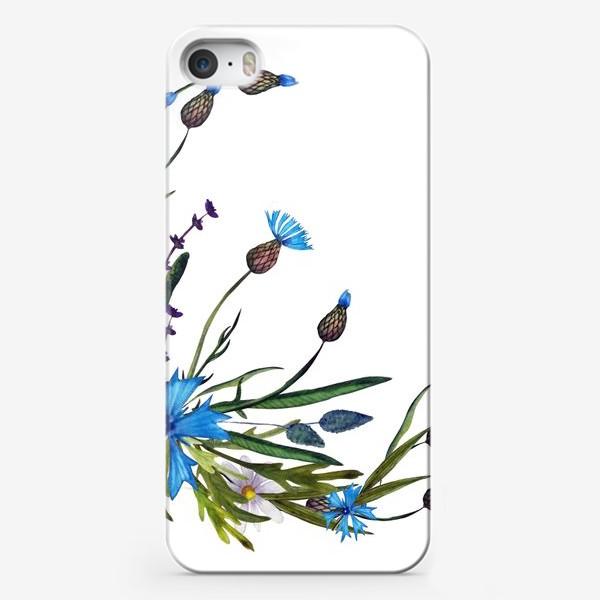 Чехол iPhone «васильки и ромашки букет»