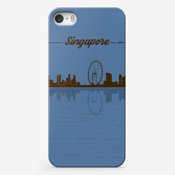 Чехол iPhone «Singapore skyline in blue background»