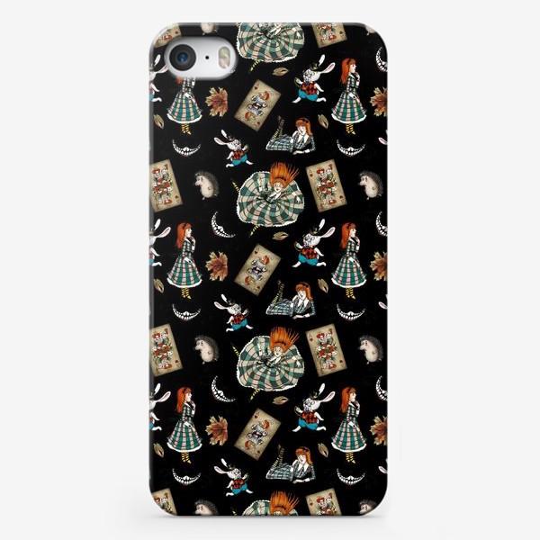 """Чехол iPhone «Квадрат бесшовного узора """"Алиса"""" черный»"""