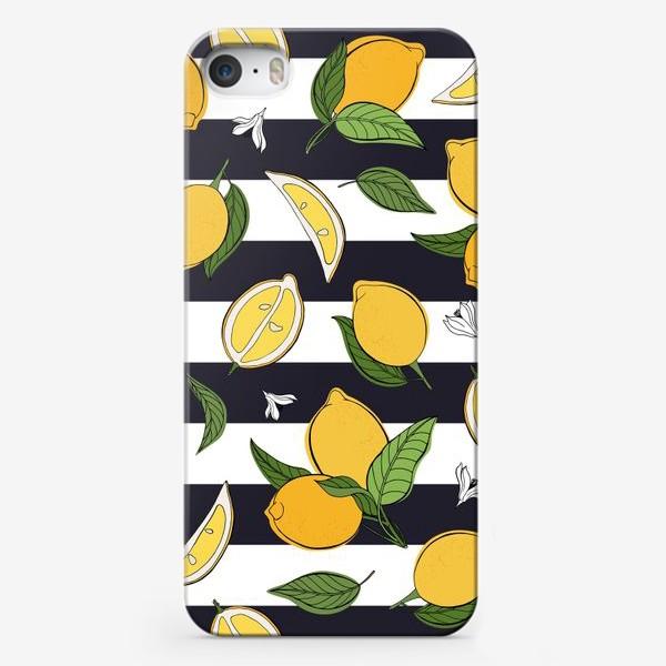 Чехол iPhone «Принт с лимонами на полосатом фоне»
