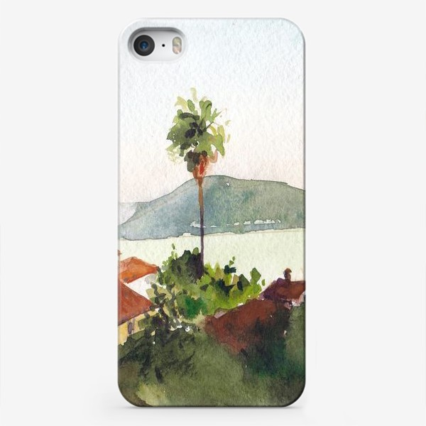 Чехол iPhone «Пейзаж с морем и пальмами. Херцег-Нови. Черногорская серия. »