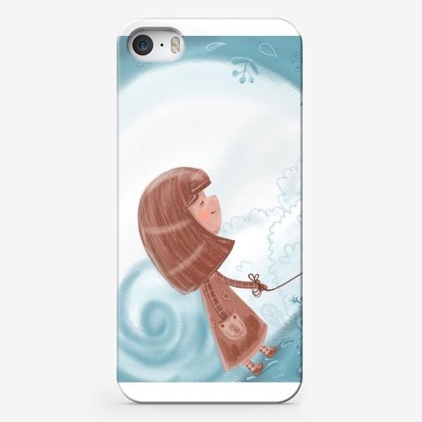 Чехол iPhone «Девочка на прогулке с собачкой»