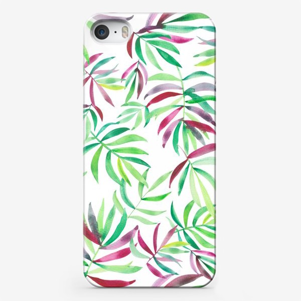 Чехол iPhone «Акварельные тропики. Листья»