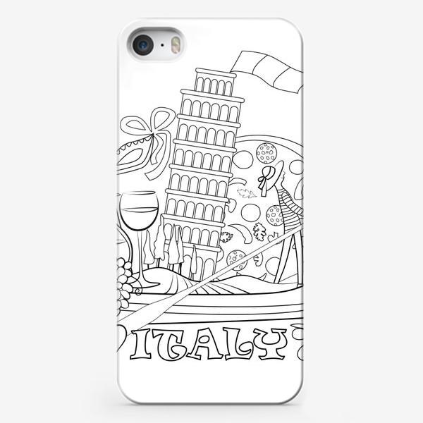 Чехол iPhone «Итальянская Раскраска. Гондола, везущая на себе символы Италии. Раскраска»