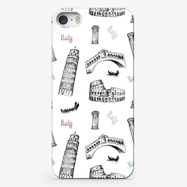 Чехол iPhone «Итальянская Раскраска. Безшовный паттерн с архитектурными символами Италии.»