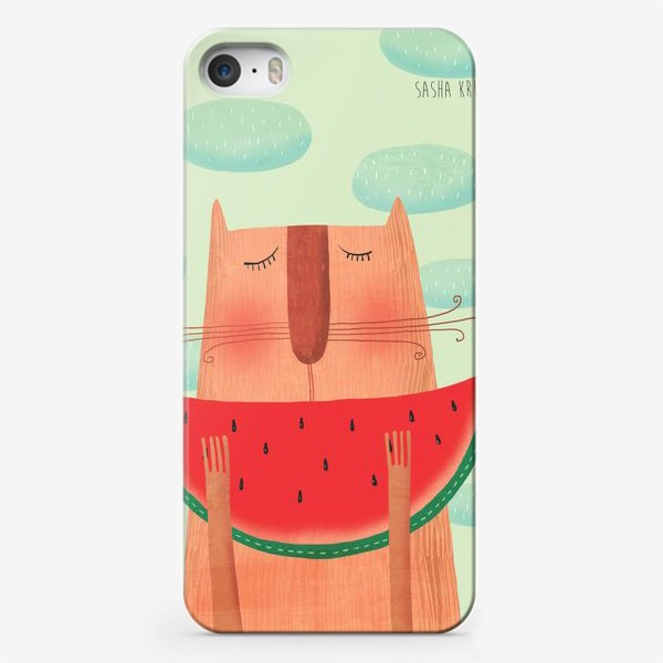Чехол iPhone «Кот с арбузом»