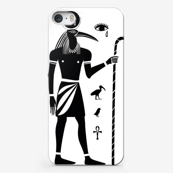 Чехол iPhone «Древнеегипетский бог Тот с головой ибиса и древнеегипетские символы»