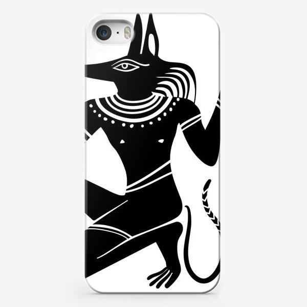 Чехол iPhone «Древнеегипетский бог Анубис с собачьей головой и древнеегипетские символы»