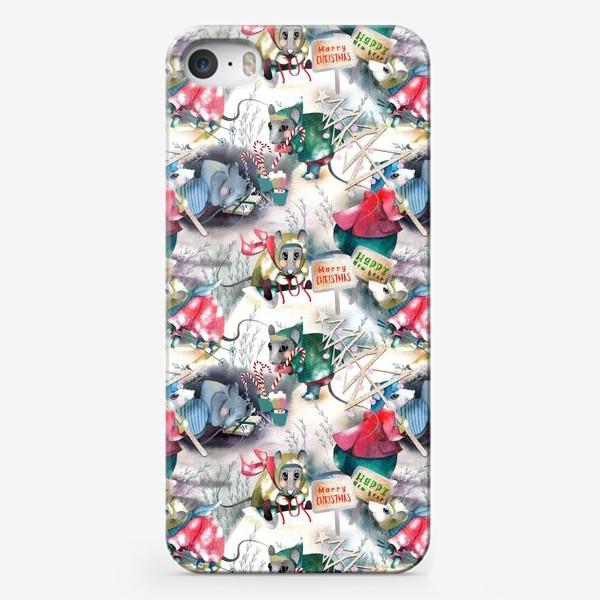 Чехол iPhone «Зимние хлопоты полотенце»