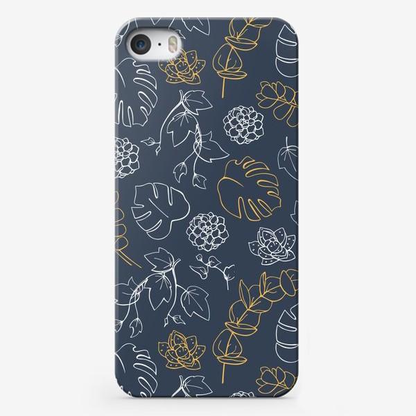 Чехол iPhone «Бело-золотой узор с тропическими растениями»