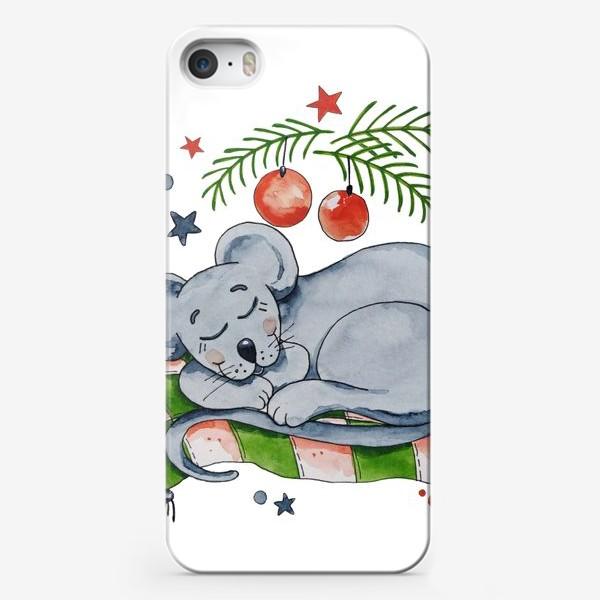 Чехол iPhone «Сонная мышка. Подарок к Новому году.»
