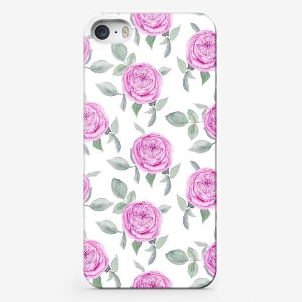Чехол iPhone «Розовые розы. Акварельный паттерн на белом фоне»