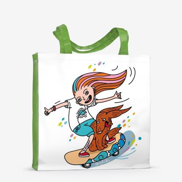 Сумка-шоппер «девушка, скейт и собака»