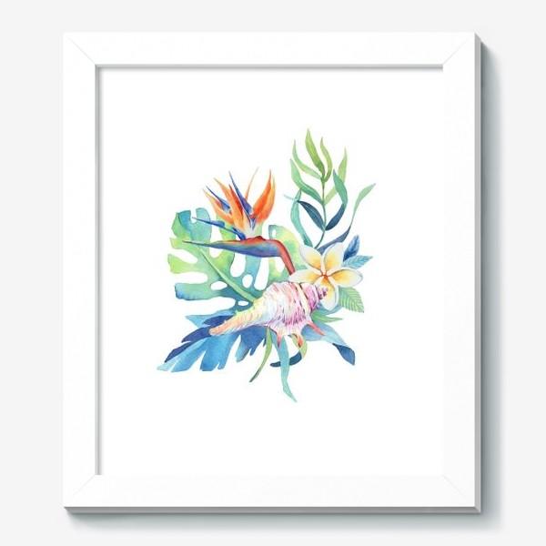 Картина «Тропики. Ракушка и монстера»