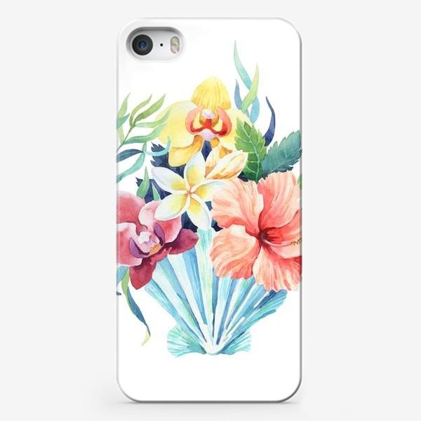 Чехол iPhone «Тропики. Ракушка и гибискус»