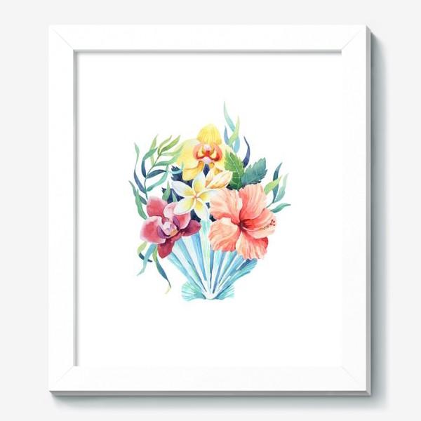 Картина «Тропики. Ракушка и гибискус»