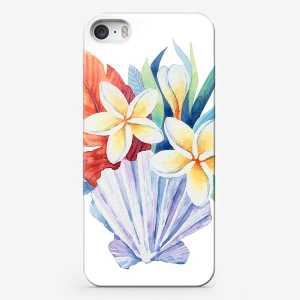 Чехол iPhone «Тропики. Ракушка и цветы»