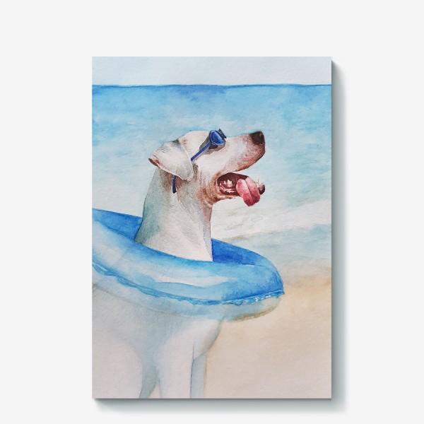 Холст «Собака в очках и с надувным кругом»