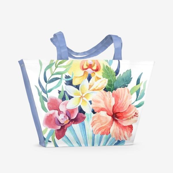 Пляжная сумка «Тропики. Ракушка и гибискус»