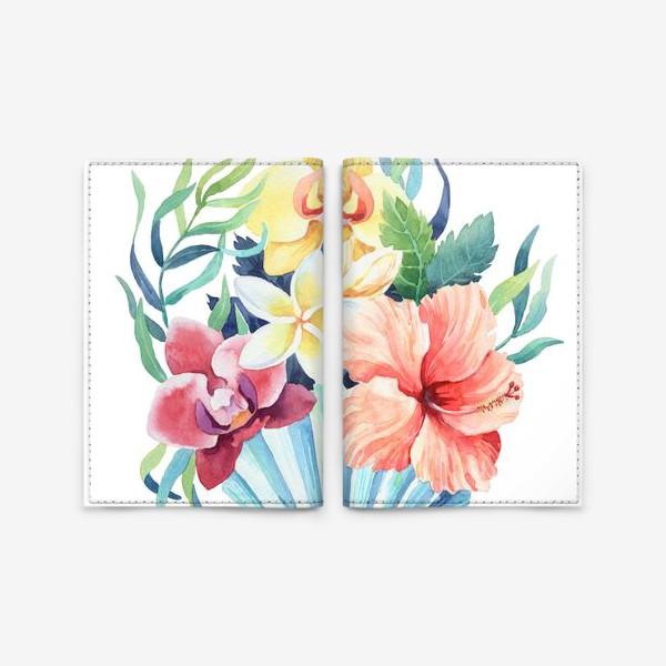 Обложка для паспорта «Тропики. Ракушка и гибискус»