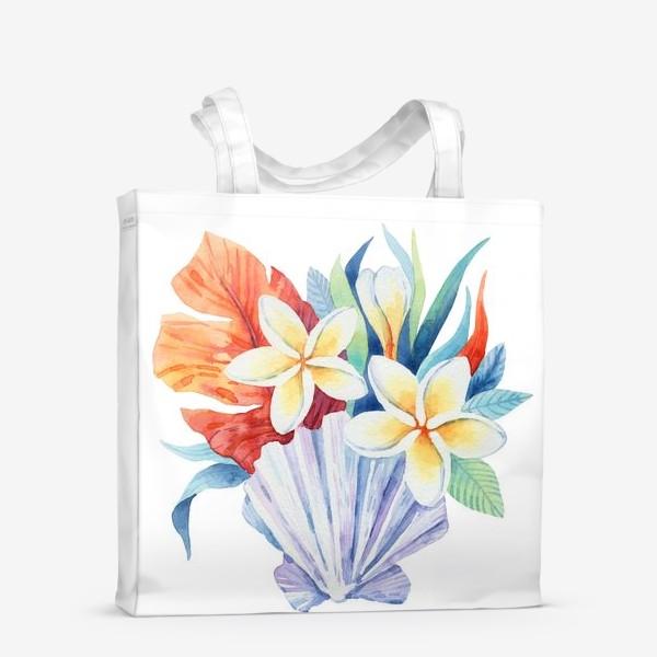 Сумка-шоппер «Тропики. Ракушка и цветы»