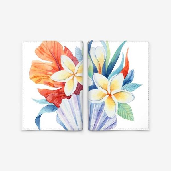Обложка для паспорта «Тропики. Ракушка и цветы»