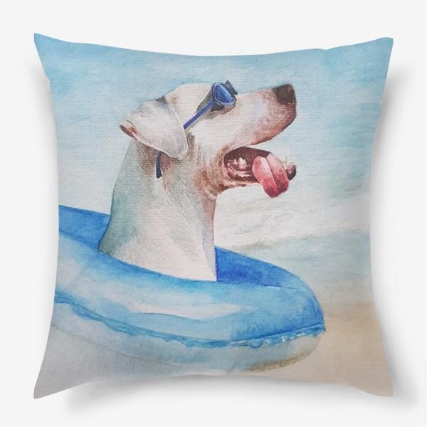 Подушка «Собака в очках и с надувным кругом»