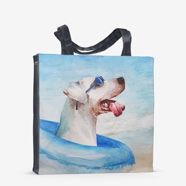 Сумка-шоппер «Собака в очках и с надувным кругом»
