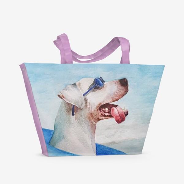 Пляжная сумка «Собака в очках и с надувным кругом»