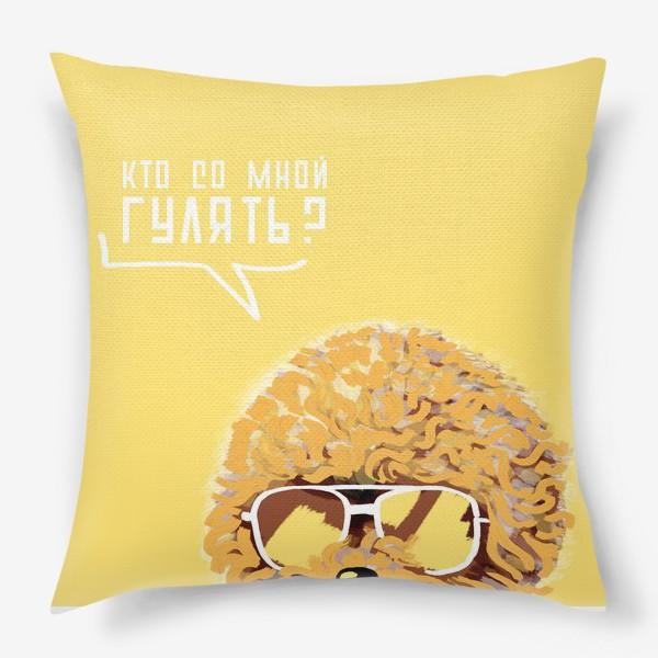 Подушка «Кто со мной гулять? Пудель в очках. Жизнь после карантина»