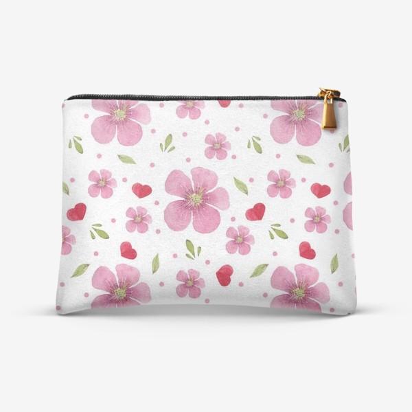 Косметичка «Паттерн из акварельных розовых цветов»