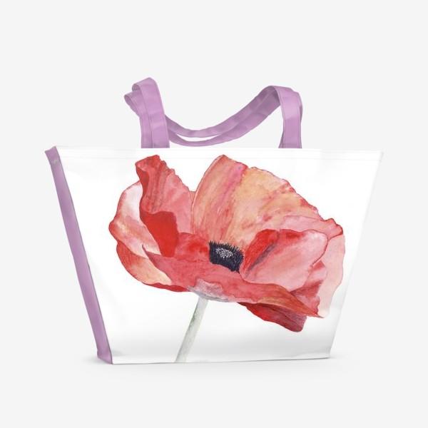 Пляжная сумка «Маки. Красный снова в моде.»