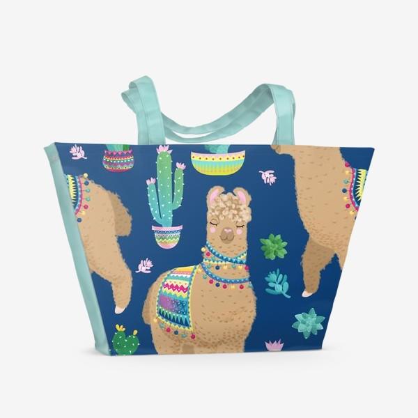 Пляжная сумка «Пушистые ламы»