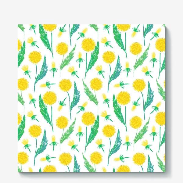 Холст «Одуванчики. Дикий полевой цветок одуванчик. Полевые цветы.»