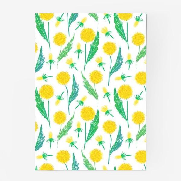 Постер «Одуванчики. Дикий полевой цветок одуванчик. Полевые цветы.»