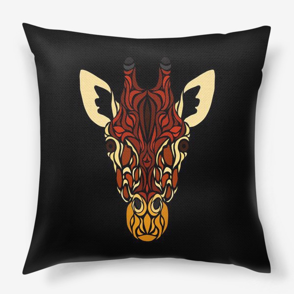 Подушка «Жираф на черном»