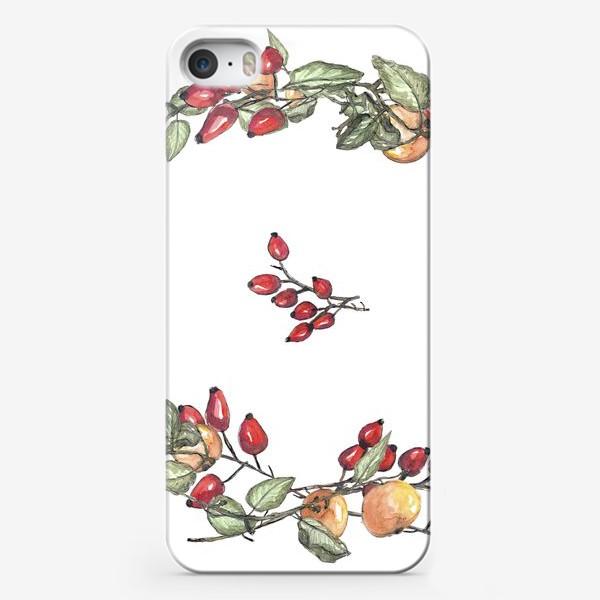 Чехол iPhone «Романтичный венок из шиповника и яблок в акварельной технике»