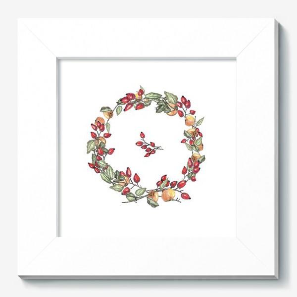 Картина «Романтичный венок из шиповника и яблок в акварельной технике»