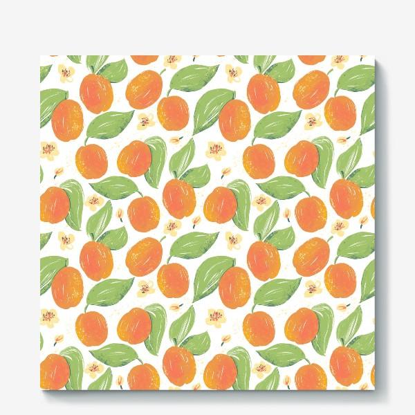 Холст «Абрикосовый сад в цвету. Спелый фрукт абрикос. Фрукты абрикосы. Весеннее цветение дерева.»